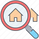 find, home, house, magnifier, real-estate, residential, search icon