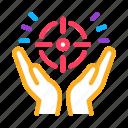 aim, atom, exaltation, flag, lightbulb, planet, purpose icon