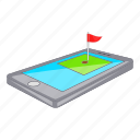 app, cartoon, course, download, golf, phone, sign icon
