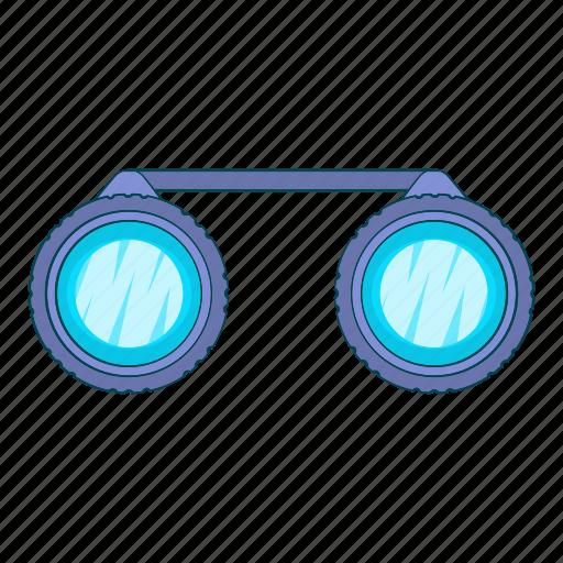 binoculars, cartoon, instrument, sign, sport, vision, zoom icon