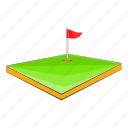 cartoon, course, field, flag, golf, sign, sport icon