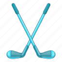 cartoon, clubs, game, golf, sign, sport, tee icon
