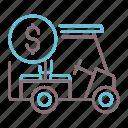 buggy, golf, rental, vehicle icon