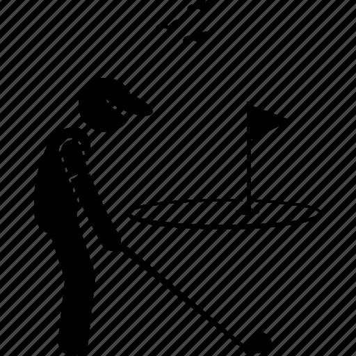 field, flag, golf, golfer, playing icon