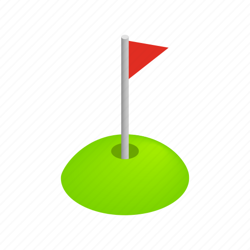 flag, game, golf, grass, isometric, leisure, sport icon