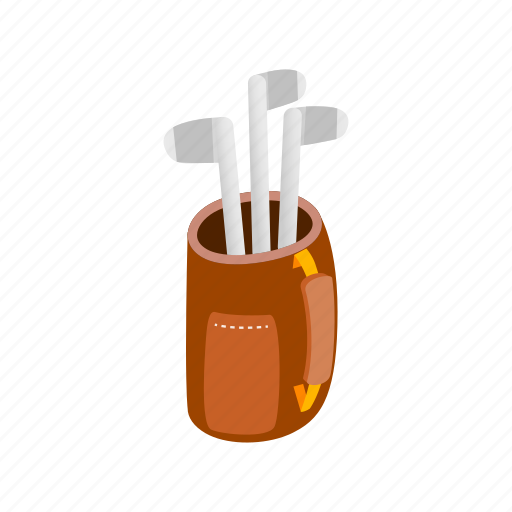 bag, club, game, golf, isometric, metal, sport icon