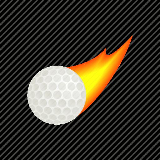 ball, circle, fire, golf, golfing, isometric, round icon