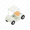 car, cart, club, golf, isometric, sport, vehicle icon