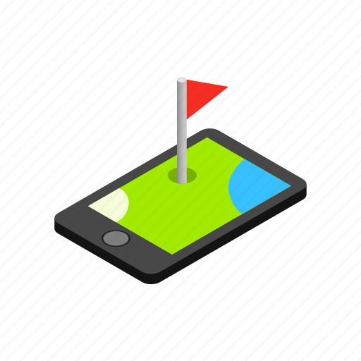 golf, gps, isometric, location, map, phone, road icon