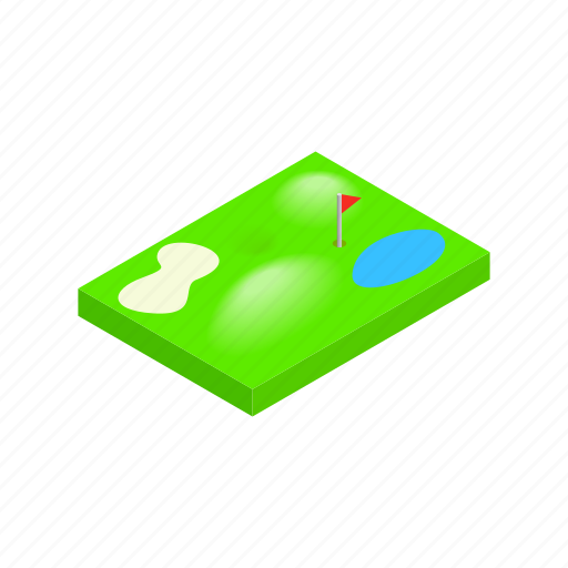 course, flag, golf, green, isometric, leisure, sport icon