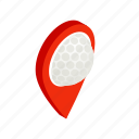 ball, golf, gps, isometric, map, pin, pointer icon