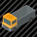 business, car, cartoon, construction, dump, isometric, truck