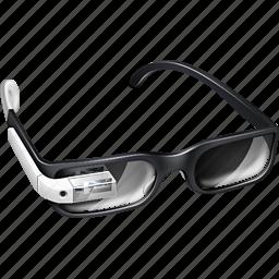 gadget, gglass, glasses, google, google glass, google+, googleglass, gproject, project, white icon