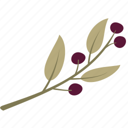 berry, branch, decoration, green, leaf, leaves icon