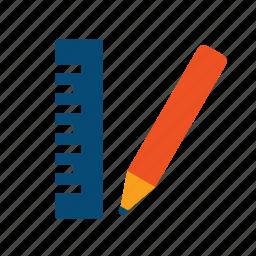 approach, calculation, concept, design, develop, draft, implement, norm, pencil, plan, project, ruler, survey icon