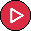 arrow, play, video, youtube icon