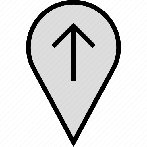 arrow, google, locate, location, up icon