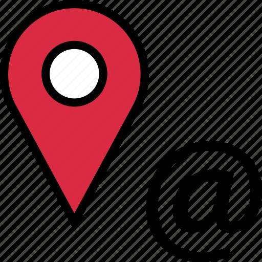 at, google, locate, location, sign icon