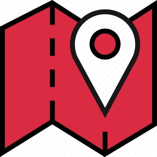 folded, google, locate, location, map icon