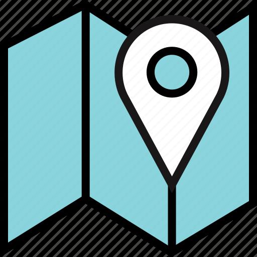 find, google, locate, location, map, search icon