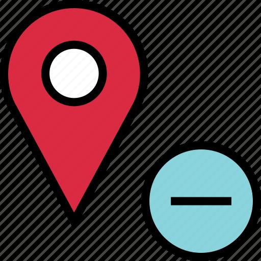 google, locate, location, negative, pin icon