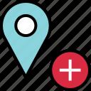 add, google, locate, location, plus icon