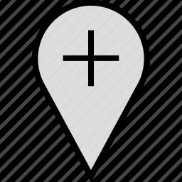 google, locate, location, pin, plus icon
