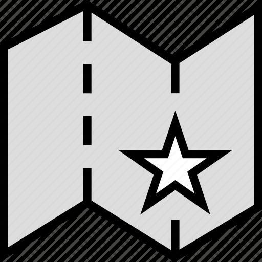 folded, google, locate, location, map, star icon