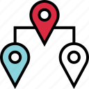connect, google, locate, location, three icon