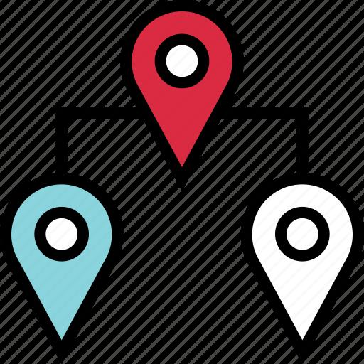 connect, google, locate, location, three icon