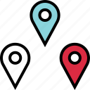google, locate, location, pin, pins, three icon