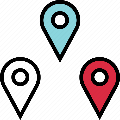 google, locate, location, pin, pins, three icon