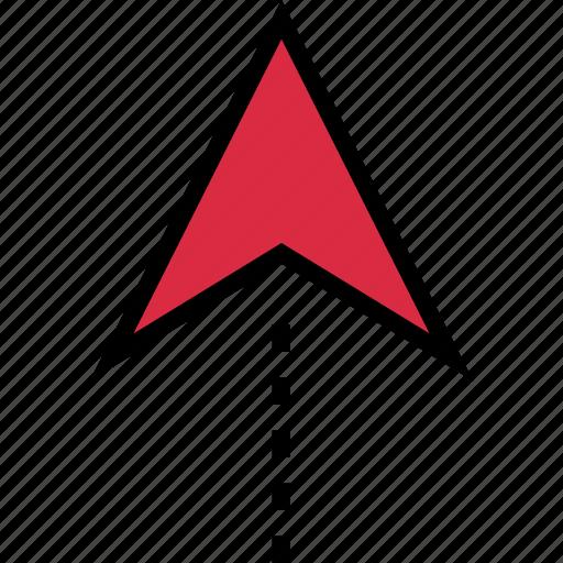 arrow, google, locate, location, travel, up icon