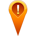 location, pin, warning icon