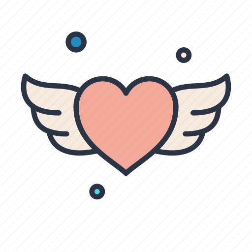 heart, sign, valentines, wedding, wings, with icon