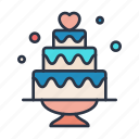 cake, celebration, day, heart, party, wedding icon