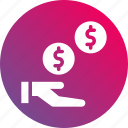 coin, earnings, hand, money, money toss, payment, profit icon