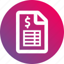 document, gradient, payroll, report, sheet, table icon