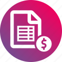 coin, document, gradient, payroll, report, sheet, table icon