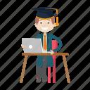 graduation, school, student, working icon