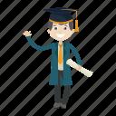 graduation, graduation ceremony, kid, student icon
