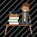 book, graduation, sitting, student icon