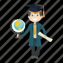 globe, graduation, school, student icon