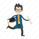 boy, graduation, knowledge, student icon