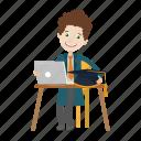graduation, laptop, student, study icon