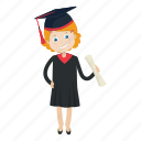 girl, graduation, student icon