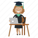 girl, graduation, student, study icon