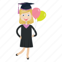 balloon, graduate, graduation ceremony, student icon