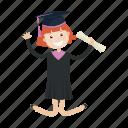 graduation, jump, school, student icon