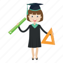 graduation, ruler, student, study